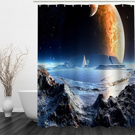 3D Mountains Surrounding Lake Polyester Waterproof Antibacterial and Eco-friendly Shower Curtain