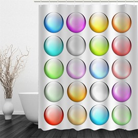 3D Colored Balls Pattern Polyester Waterproof Antibacterial and Eco-friendly Shower Curtain