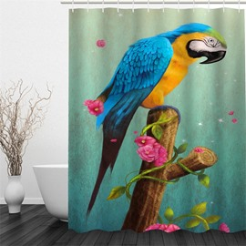 3D Parrot on Branch Polyester Waterproof Antibacterial and Eco-friendly Shower Curtain