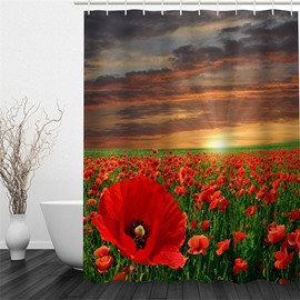 3D Red Flowers Field Printed Polyester Waterproof Antibacterial and Eco-friendly Shower Curtain