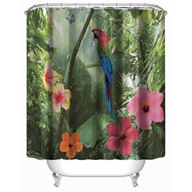 3D Green Forest Parrot and Flowers Polyester Waterproof Antibacterial and Eco-friendly Shower Curtain