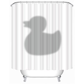 3D Grey Duck Printed Polyester Waterproof Antibacterial and Eco-friendly White Shower Curtain