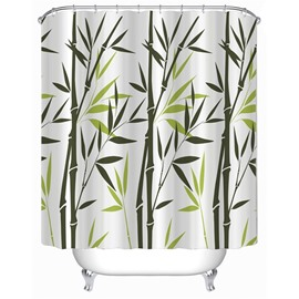 3D Green Bamboos Printed Polyester Waterproof Antibacterial and Eco-friendly Shower Curtain