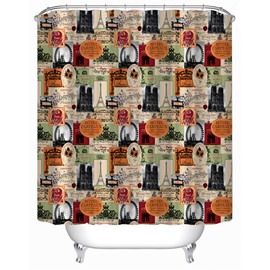 3D Famous Landmarks Printed Polyester Waterproof Antibacterial and Eco-friendly Shower Curtain
