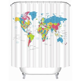 3D White Background with World Map Polyester Waterproof Antibacterial and Eco-friendly Shower Curtain