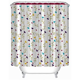 3D Grass on White Background Polyester Waterproof Antibacterial and Eco-friendly Shower Curtain