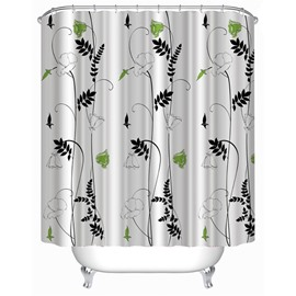 3D White Background with Flowers and Leaves Polyester Waterproof Antibacterial Eco-friendly Shower Curtain