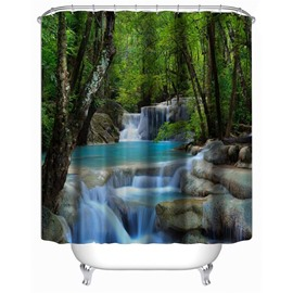 3D Green Forest Surrounding Lake Polyester Waterproof Antibacterial and Eco-friendly Shower Curtain