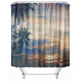 3D Beach in Sunset Printed Polyester Waterproof Antibacterial and Eco-friendly Shower Curtain