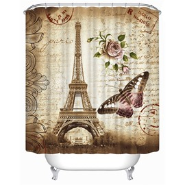 3D Tower Glower and Butterfly Printed Polyester Waterproof Antibacterial and Eco-friendly Shower Curtain