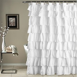 3D White Laces Polyester Waterproof Antibacterial and Eco-friendly Shower Curtain