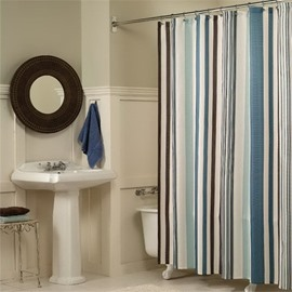 3D Stripes on White background Polyester Waterproof Antibacterial and Eco-friendly Shower Curtain