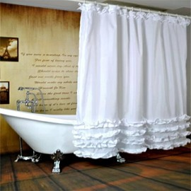 White Ruffles Polyester Waterproof Antibacterial and Eco-friendly Shower Curtain