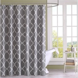 3D Grey Background with White Lines Polyester Waterproof Antibacterial and Eco-friendly Shower Curtain