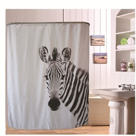 3D Zebra Printed Polyester Waterproof Antibacterial and Eco-friendly White Shower Curtain