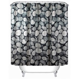 3D Grey Stones Printed Polyester Waterproof Antibacterial and Eco-friendly Shower Curtain