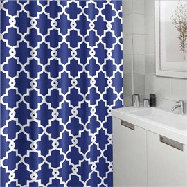3D Blue Background with White Lines Polyester Waterproof Antibacterial and Eco-friendly Shower Curtain