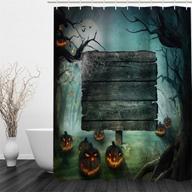 3D Jack-o-Lanterns in Halloween Night Polyester Waterproof Antibacterial and Eco-friendly Shower Curtain