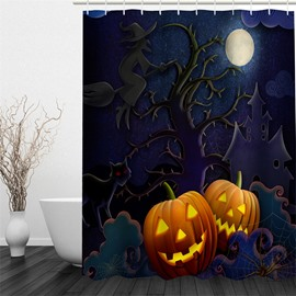 3D Halloween Eve Jack-o-Lanterns Polyester Waterproof Antibacterial and Eco-friendly Shower Curtain