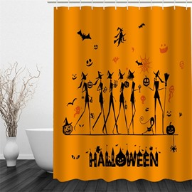3D Halloween Witches Polyester Waterproof Antibacterial and Eco-friendly Yellow Shower Curtain