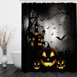 3D Halloween Night Jack-O-Lanterns Printed Polyester Waterproof Antibacterial Eco-friendly Shower Curtain
