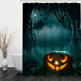 3D Halloween Jack-o-Lantern in Forest Polyester Waterproof Antibacterial and Eco-friendly Shower Curtain