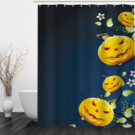 3D Halloween Jack-o-Lanterns Polyester Waterproof Antibacterial and Eco-friendly Shower Curtain