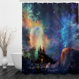 3D Halloween Galaxy Printed Polyester Waterproof Antibacterial and Eco-friendly Shower Curtain