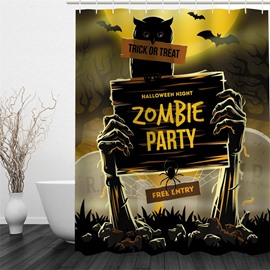 3D Halloween Zombie Party Polyester Waterproof Antibacterial and Eco-friendly Shower Curtain