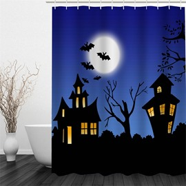3D Halloween Bat House Polyester Waterproof Antibacterial and Eco-friendly Blue Shower Curtain