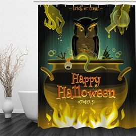 3D Halloween Spirit Printed Polyester Waterproof Antibacterial and Eco-friendly Shower Curtain