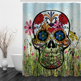 3D Floral Skull Pattern Polyester Waterproof Antibacterial and Eco-friendly Shower Curtain