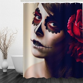 3D Pretty Witch Polyester Waterproof Antibacterial and Eco-friendly Shower Curtain