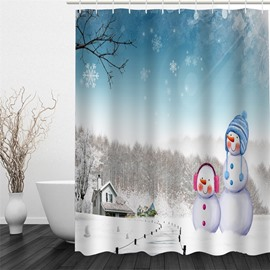 3D Christmas Snowmen Polyester Waterproof Antibacterial and Eco-friendly Shower Curtain