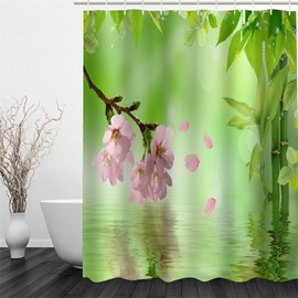 3D Green Bamboos Pink Flowers Polyester Waterproof Antibacterial and Eco-friendly Shower Curtain