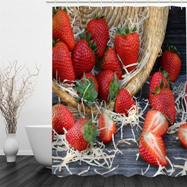 3D Red Strawberries Printed Polyester Waterproof Antibacterial and Eco-friendly Shower Curtain