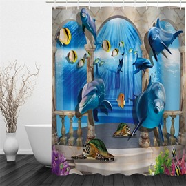 3D Blue Dolphins Printed Polyester Waterproof Antibacterial and Eco-friendly Shower Curtain