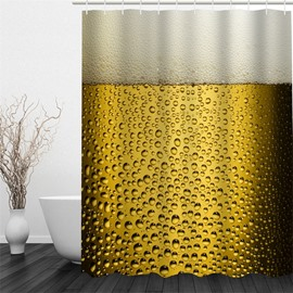 3D Beer Printed Polyester Waterproof Antibacterial and Eco-friendly Shower Curtain