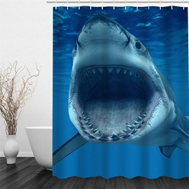 3D Shark in Blue Sea Polyester Waterproof Antibacterial and Eco-friendly Shower Curtain