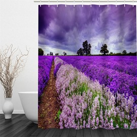 3D Purple Lavender Field Polyester Waterproof Antibacterial and Eco-friendly Shower Curtain