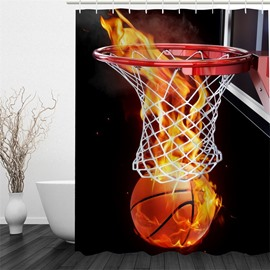 3D Fire Basketball through Basket Polyester Waterproof Antibacterial and Eco-friendly Shower Curtain