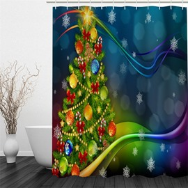 3D Christmas Tree Printed Polyester Waterproof Antibacterial Eco-friendly Shower Curtain