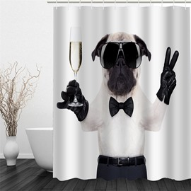 3D Gentle Dog Polyester Waterproof Antibacterial Eco-friendly Shower Curtain