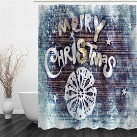 3D Merry Christmas Printed Polyester Waterproof Antibacterial Eco-friendly Shower Curtain
