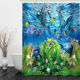 3D Fishes Dolphins in Sea Polyester Waterproof Antibacterial Eco-friendly Shower Curtain