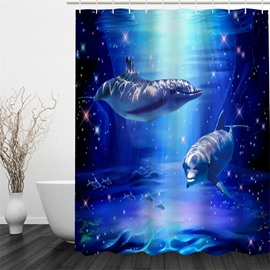 3D Dolphins in Blue Sea Pattern Polyester Waterproof Antibacterial Eco-friendly Shower Curtain