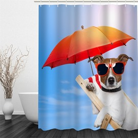 3D Dog with Sunglasses in Umbrella Polyester Waterproof Antibacterial Eco-friendly Shower Curtain