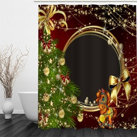 3D Christmas Tree Pattern Polyester Waterproof Antibacterial and Eco-friendly Shower Curtain