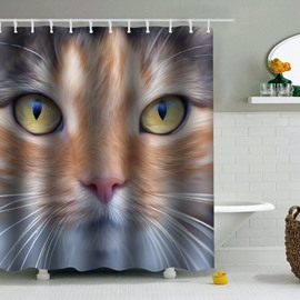Cat Printed PEVA Waterproof Durable Antibacterial Eco-friendly Shower Curtain