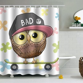 Owl in Hat Printed PEVA Waterproof Durable Antibacterial Eco-friendly Shower Curtain